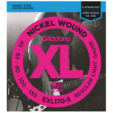 D'Addario EXL170-5 Nickel Wound .045-130