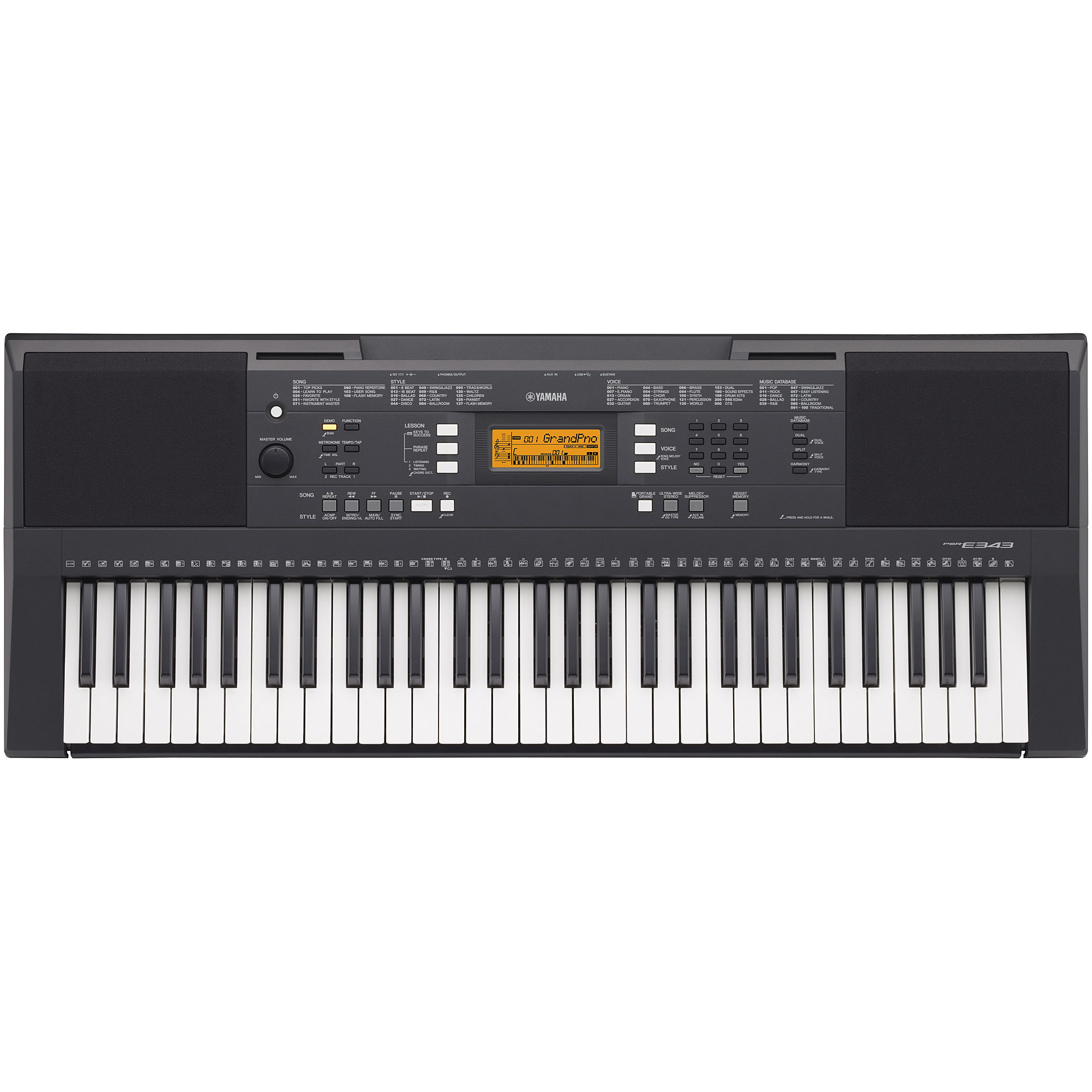 yamaha psr e343 10067805 keyboard. Black Bedroom Furniture Sets. Home Design Ideas