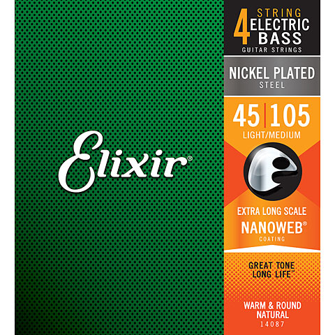 Elixir Nanoweb Medium XLong-scale .045-105
